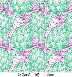 Seamless pattern with artichoke.