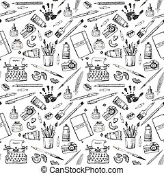 Seamless pattern with artist and writer tools. - Seamless...