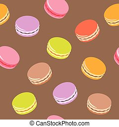 Seamless pattern with assorted colorful macarons on white background.