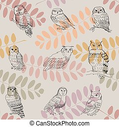 Seamless pattern with autumn branches of acacia and owls