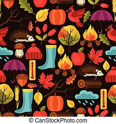 Seamless pattern with autumn icons and objects