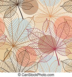 Seamless pattern with autumn leaves in a retro style