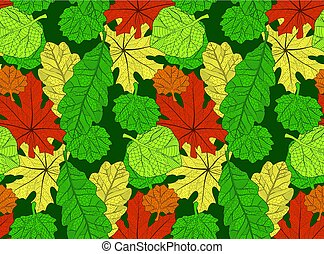 Seamless pattern with autumn leaves on green background
