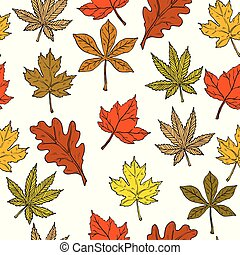 Seamless pattern with autumn leaves on white background.