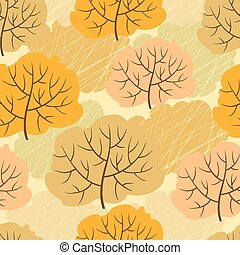 Seamless pattern with autumn trees. Vector illustration