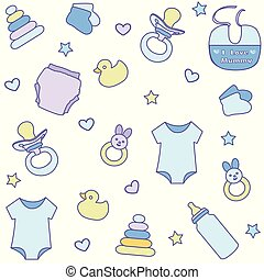 Seamless pattern with baby boy items. Newborn clothes and accessories