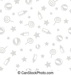 Seamless pattern with baby elements. Lollipop star ball toddler bottle. Realistic elements isolated on white background. For wallpapers banners printed covers wrapping paper. Vector illustration