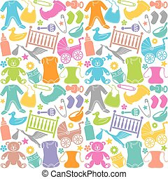seamless pattern with baby icons (seamless pattern with baby...