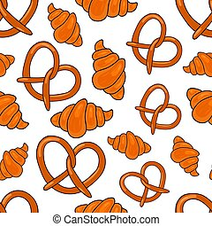 Seamless pattern with bakery products. Sweet pattern. Vector illustration for bakery, design menu, label and packaging