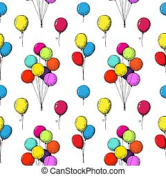 Seamless pattern with balloons. Hand drawn, isolated on a white background. Vector