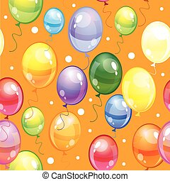 Seamless pattern with balloons on orange background