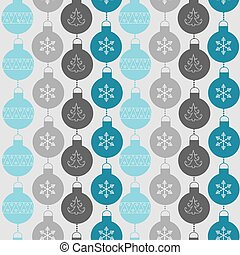 Seamless pattern with balls and snowflakes. Christmas and New Year Background. Vector Illustration