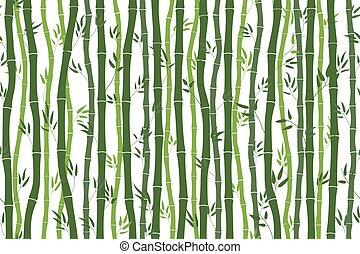 Seamless pattern with bamboo stalks. Silhouette of green bamboo on white background. Bamboo sticks and leaves. Vector illustration