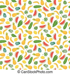 Seamless pattern with bananas, pineapples, tropical leaves and lemons. Cute tropical background. Bright summer fruits