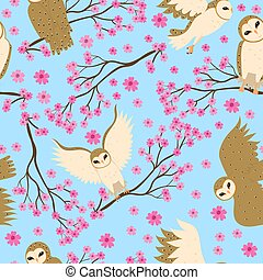 Seamless pattern with barn owls and sakura. Vector graphics.