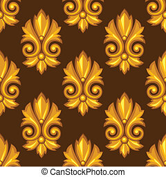 Seamless pattern with baroque ornamental floral gold...