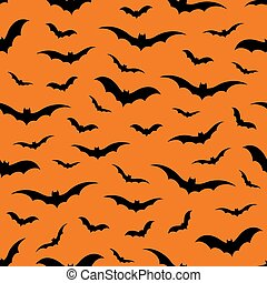 Seamless pattern with bats on orange background, vector illustration
