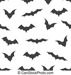 Seamless pattern with bats on white background, vector illustration