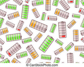 seamless pattern with batteries charged in different level