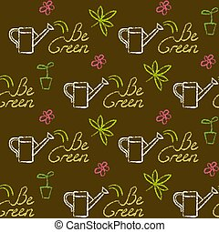 Seamless pattern with Be Green text