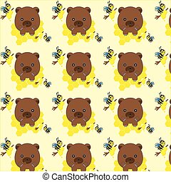 Seamless pattern with bears, bees and honey