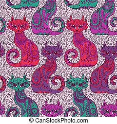 Seamless pattern with beautiful cats