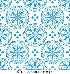 Seamless pattern with beautiful flowers in pastel light blue colors on a white background