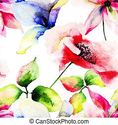 Seamless pattern with Beautiful