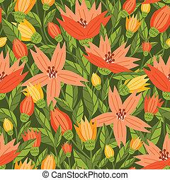 Seamless pattern with beautiful garden flowers
