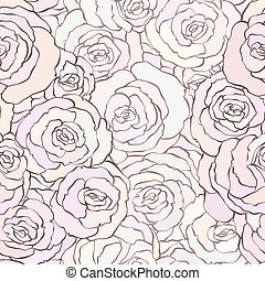 Seamless pattern with beautiful roses in soft pastel pink colors