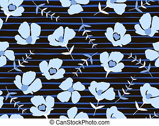 seamless pattern with beautiful small blue flowers on a black background