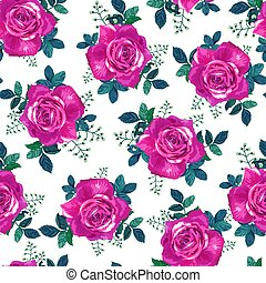 Seamless pattern with beautiful violet roses on a white background. Summer Vector