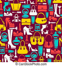 Seamless pattern with beauty female icons