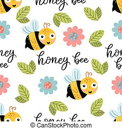 Seamless pattern with bee, flowers and lettering