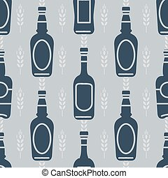 Seamless pattern with beer bottles