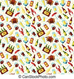 Seamless pattern with beer symbols on white background.