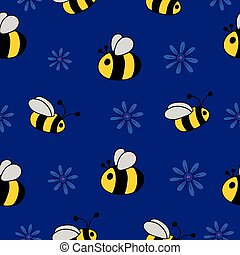 Seamless pattern with bees and flowers.