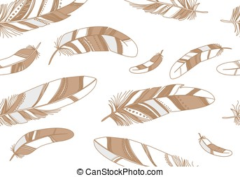 Seamless pattern with beige feathers on a white background.