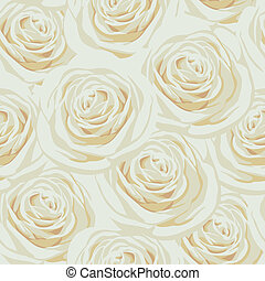 Seamless pattern with beige roses