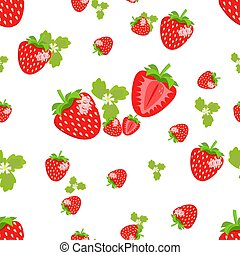 Seamless pattern with berries and strawberry flowers with leaves on a white background. Design for textiles, posters, labels. Vector illustration.