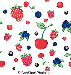 seamless pattern with berries on a white background