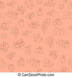 seamless pattern with berries outli