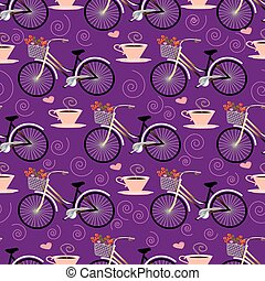 Seamless pattern with bicycle.