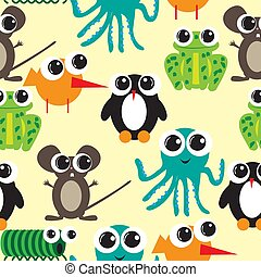 Seamless pattern with big eyes cartoon