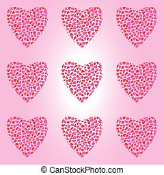 Seamless pattern with big hearts