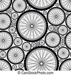 Seamless pattern with bike wheels.
