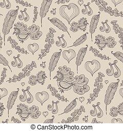 Seamless pattern with bird