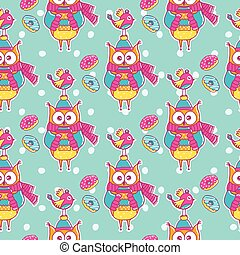 Seamless pattern with bird, owls