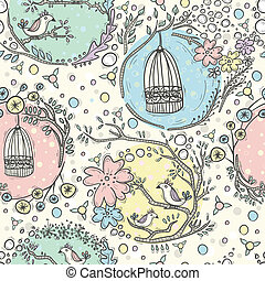 Seamless pattern with birdcages