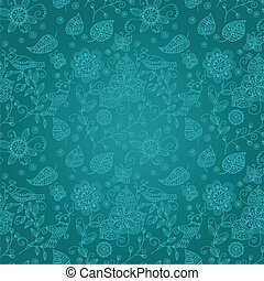 Seamless pattern with birds and flowers